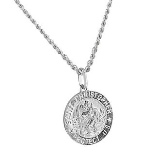 Men's Sterling Silver Saint Christopher Round Medal With Stainless Steel Chain