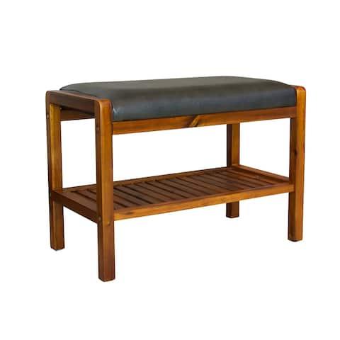 Solid Acacia Wood Padded Bench