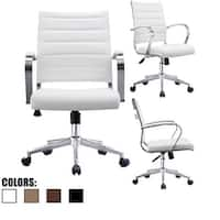 2xhome Office Chairs Mid Back Ribbed PU Leather White Conference Room Tilt Work Desk Manager Task Executive Lumber Support Boss