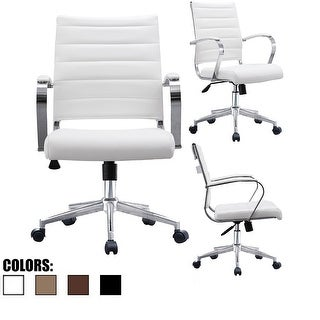 2xhome - Modern Office Chairs Mid Back Ribbed PU Leather White Conference Room