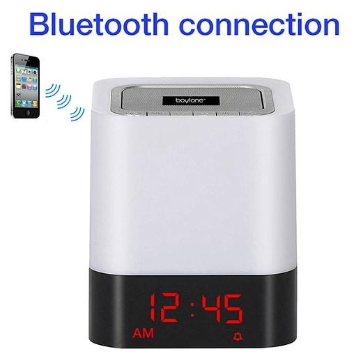 Boytone BT-83CR Portable FM Radio Alarm Clock Wireless Bluetooth 4.1 Speaker, 3-Way
