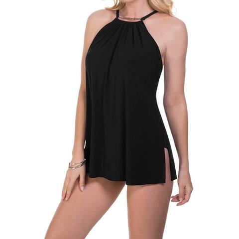 Magicsuit Women's Swimwear Black Size 8 One-Piece Gathered Hardware