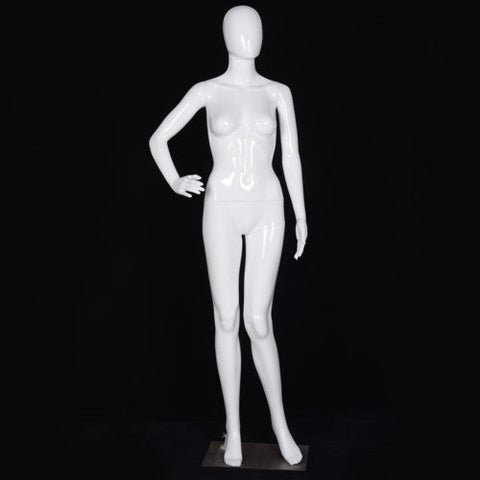 Costway Female Mannequin Full Body Dress Form Display Plastic Egg Head High Gloss White