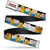 Adventure Time Logo Fcg White  Chrome Finn & Jake Close Up Webbing Web Belt