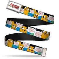 Adventure Time Logo Fcg White  Chrome Finn & Jake Close Up Webbing Web Belt