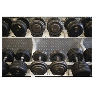 """Weights on rack in gym"" Poster Print"