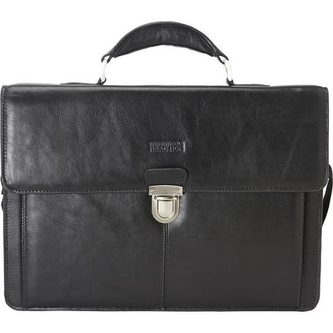 Kenneth Cole Reaction Mens Leather Briefcase Business Case Flapover Portfolio - Black - One Size