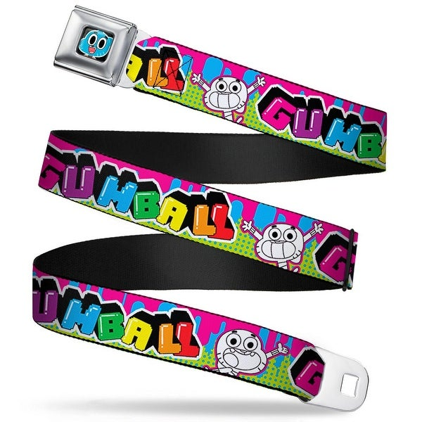 Gumball Face Close Up Black Full Color Gumball Pose Paint Splatter Multi Seatbelt Belt