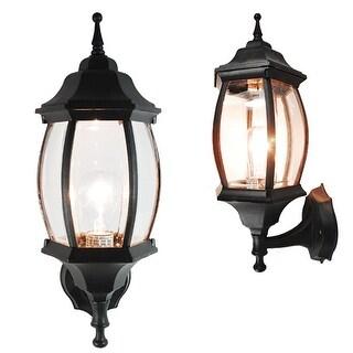 eTopLighting Matte Black Garden Light Fixture - Exterior Wall Lantern Lamp