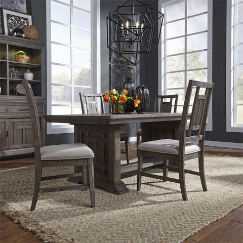 Copper Grove Letampon Wire-brushed Aged Oak 5-piece Trestle Table Set