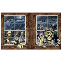 "Pack of 6 Creepy Zombie Attack Insta-View Halloween Wall Decorations 38"" x 64"" - brown"