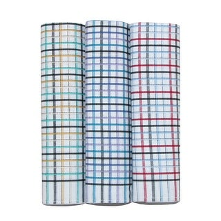 Umo Lorenzo Men's Cotton Checkered Dress Casual Handkerchief Set (Pack of 3)