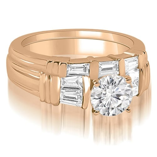 1.05 cttw. 14K Rose Gold Antique Round Cut Baguette Diamond Bridal Set