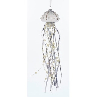 Silver on White Jellyfish Christmas Holiday Ornament Glass 12 Inches