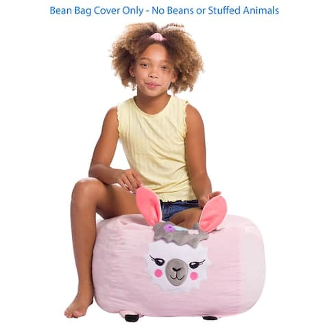 Stuffed Animal Storage Bean Bag Chair Cover only for Kids, Toy Holder