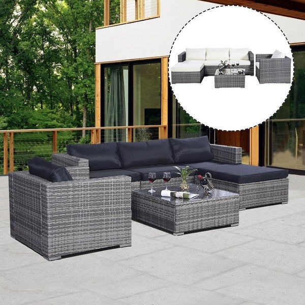 Costway 6PC Furniture Set Aluminum Patio Sofa PE Gray Rattan Couch 2 Set Cush