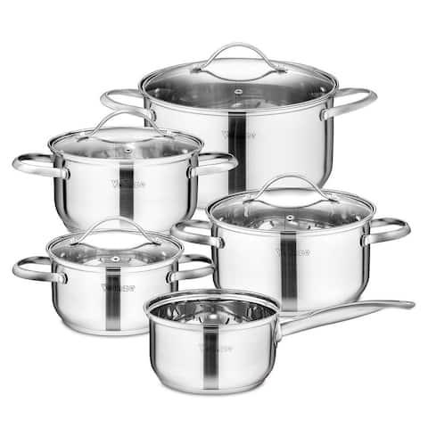 Velaze Miki Stainless Steel Induction Safe Cookware Set Wint Glass Lip