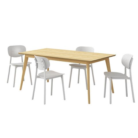 Carson Carrington Dattolo 5-piece Dining Table with Oblong-back Resin Chairs