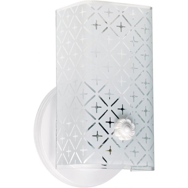 """Nuvo Lighting 76/273 1-Light 7-1/2"""" Wide Bathroom Sconce with Patterned Glass Shade - White"""