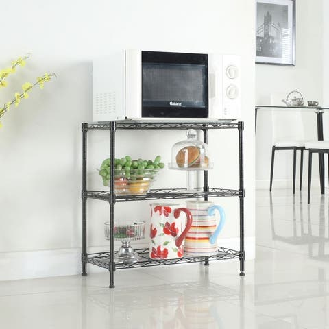 Concise 3-Shelf Carbon Steel & PP Home Kitchen Shelving Storage Unit, Metal Organizer Wire Rack