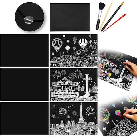 Rainbow Scratch Painting Art Sketch Pad Set, 3 with Design, 3 Blank (16 X 11.5 In)