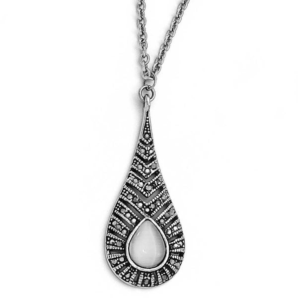Chisel Stainless Steel Polished Marcasite Cat's Eye Necklace (2 mm) - 18 in