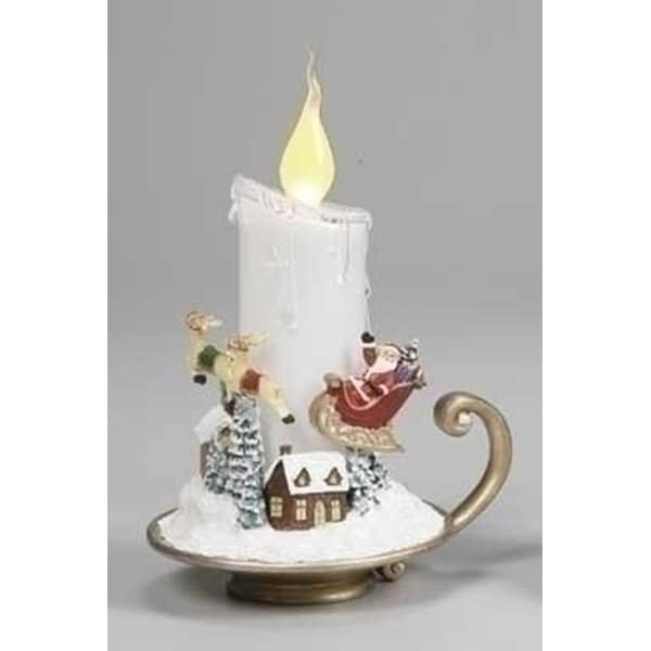 "7"" Amusements LED Lighted Santa And Sleigh White Christmas Candle"