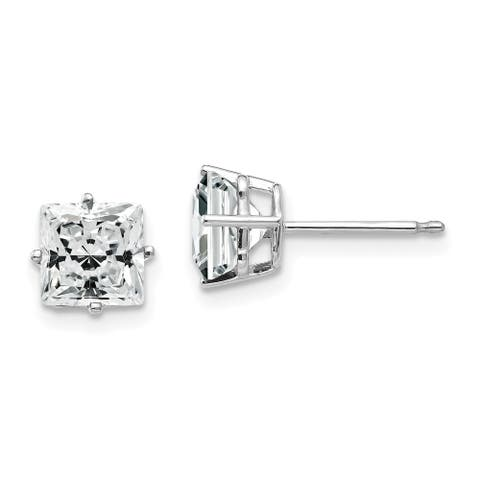 14K White Gold 6mm Princess-cut Cubic Zirconia Earrings by Versil