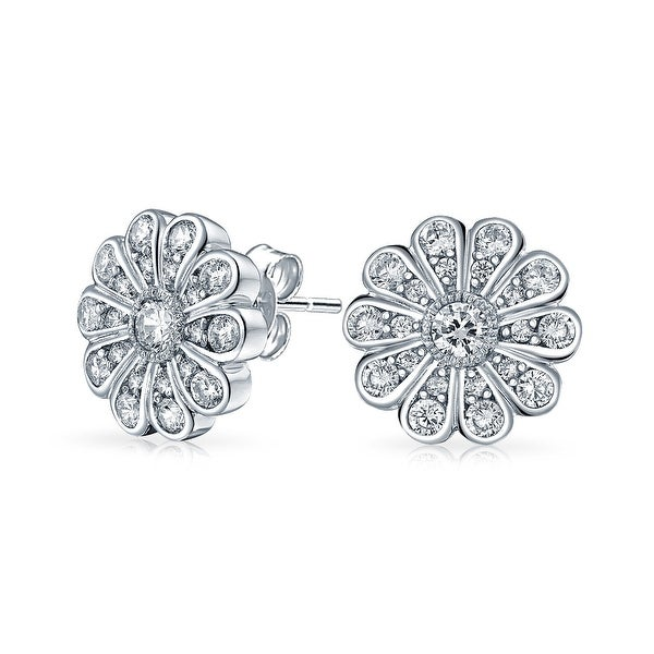 bb3f0bd3c Shop Pave CZ Bridal Flower Shaped Stud Earrings Cubic Zirconia For Women  925 Sterling Silver 12mm - Free Shipping On Orders Over $45 - Overstock -  17989806