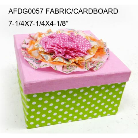 """7.25"""" Green and Pink Square Contemporary Storage Boxes"""