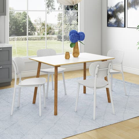 Carson Carrington Devino 5-piece White and Natural Dining Table with Resin Oblong-back Chairs