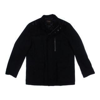 Cole Haan Mens Wool Leather Trim Coat - M
