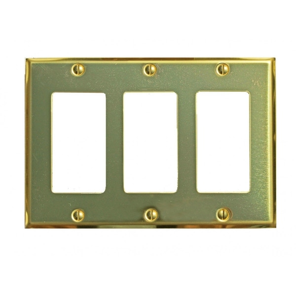 Switchplate Bright Solid Brass Triple GFI Outlet | Renovator's Supply