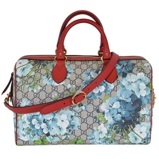 Gucci Women's GG Supreme BLOOMS Medium Convertible Boston Bag Satchel - Beige/Baby Blue