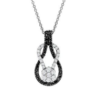 1/3 ct Black & White Diamond Loop Pendant in Sterling Silver