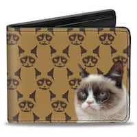 Grumpy Cat Monogram Pose Browns Bi Fold Wallet - One Size Fits most