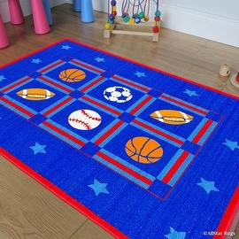 "Allstar Kids / Baby Room Area Rug. Sports. Football. Basketball. Soccer and Baseball. Bright Blue Colors (3' 3"" x 4' 10"")"