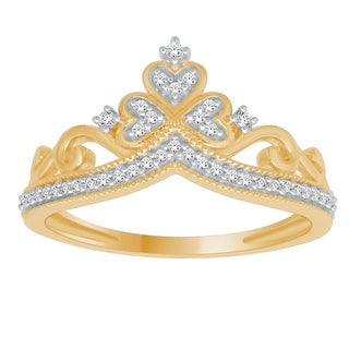 10K Gold or White Gold Crown Ring Natural Diamond 0.12ctw Pave Set Ladies Fashion Statement Ring by Midwest Jewellery