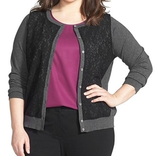 Vince Camuto NEW Gray Women's Size 1X Plus Cardigan Lace Sweater
