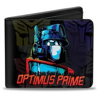 Optimus Prime Pose Autobot Fade Black Yellow Blue Red Gray Bi Fold Wallet - One Size Fits most