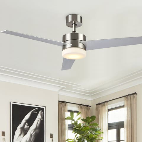 """SAFAVIEH Lighting Radcliff Nickel 3-speed LED Ceiling Fan with Remote - 52"""" W x 52"""" L x 14.25""""-19.25"""" H"""