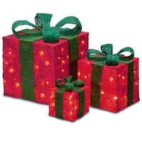 Set of 3 Sparkling Red Sisal Gift Boxes Lighted Christmas Yard Art Decorations