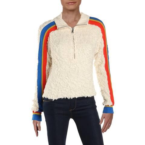 Free People Womens Marshmallow Sweatshirt Zippered Stripe - XS