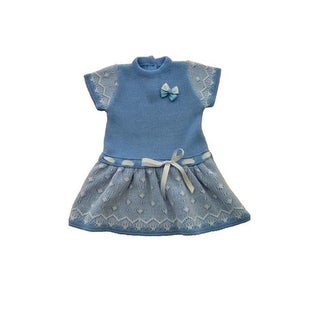 Patucos Casual Knitted Baby Dress for Girls, Navy - 3 Months