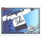 Cory Cross Tampa Bay Lightning 1991 Topps Team Card Autographed Card  This item comes with a certif
