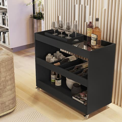 Boahaus Rhyl Bar Cart, 05 Wine Racks, 02 Open Shelves, Serving Tray