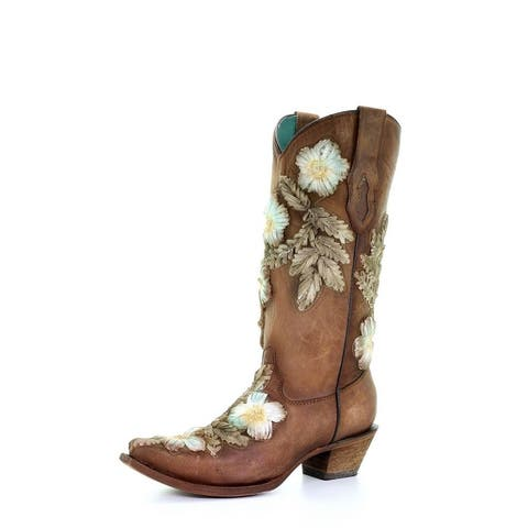 Corral Western Boots Womens Flowers Hand Painted Tobacco