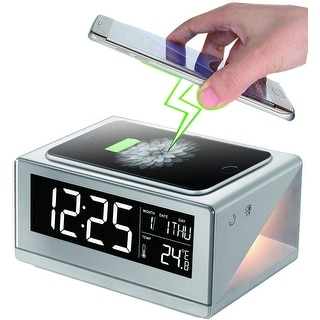 Boytone BT-12W Fast Wireless Charging Digital Alarm Clock with Temperature & Calendar Display, Bed Light Touch Dimmer, Snooze