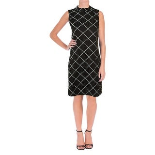 Sanctuary Womens Mock Neck Window pane Wear to Work Dress