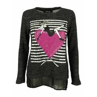 Style & Co. Women's Long Sleeve Crew Neck Chiffon Hem Sweater